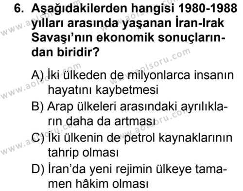 Seçmeli Çağdaş Türk ve Dünyası Tarihi 2 Dersi 2019-2020 Yılı 1. Dönem Sınavı 6. Soru