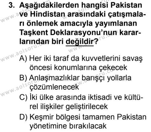 Seçmeli Çağdaş Türk ve Dünyası Tarihi 2 Dersi 2019 - 2020 Yılı 2. Dönem Sınav Soruları 3. Soru
