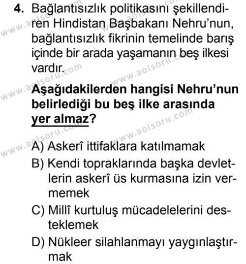 Seçmeli Çağdaş Türk ve Dünyası Tarihi 2 Dersi 2019 - 2020 Yılı 2. Dönem Sınav Soruları 4. Soru