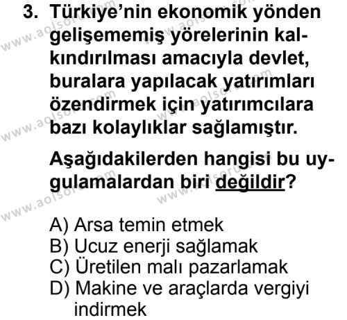 Seçmeli Coğrafya 1 Dersi 2012-2013 Yılı 1. Dönem Sınavı 3. Soru