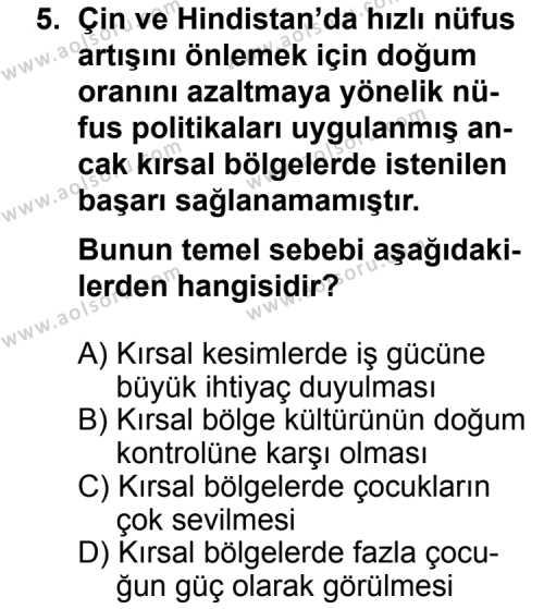 Seçmeli Coğrafya 1 Dersi 2013-2014 Yılı 1. Dönem Sınavı 5. Soru