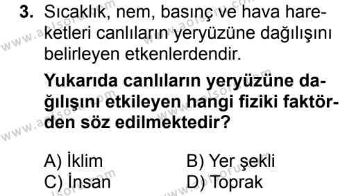 Seçmeli Coğrafya 1 Dersi 2018 - 2019 Yılı 1. Dönem Sınavı 3. Soru