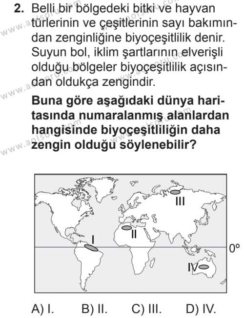 Seçmeli Coğrafya 1 Dersi 2018 - 2019 Yılı 2. Dönem Sınavı 2. Soru