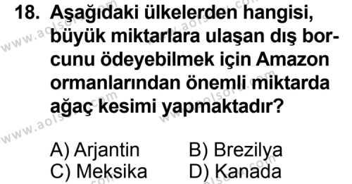 Seçmeli Coğrafya 2 Dersi 2012-2013 Yılı 1. Dönem Sınavı 18. Soru