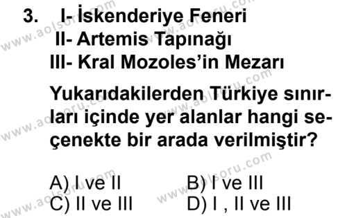 Seçmeli Coğrafya 2 Dersi 2013 - 2014 Yılı 3. Dönem Sınav Soruları 3. Soru