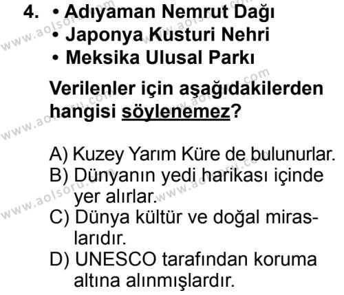 Seçmeli Coğrafya 2 Dersi 2013 - 2014 Yılı 3. Dönem Sınav Soruları 4. Soru