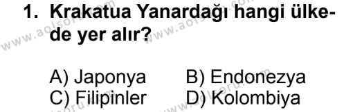 Seçmeli Coğrafya 3 Dersi 2013-2014 Yılı 1. Dönem Sınavı 1. Soru