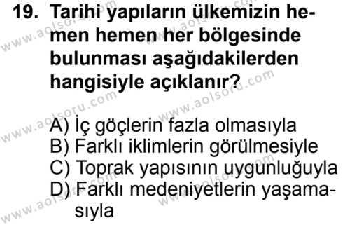 Seçmeli Coğrafya 3 Dersi 2013-2014 Yılı 1. Dönem Sınavı 19. Soru