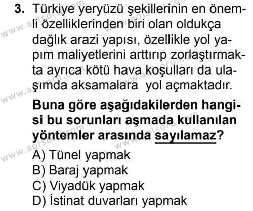 Seçmeli Coğrafya 3 Dersi 2017 - 2018 Yılı Ek Sınavı 3. Soru
