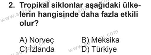 Seçmeli Coğrafya 3 Dersi 2018 - 2019 Yılı 2. Dönem Sınavı 2. Soru