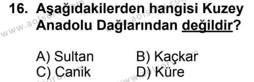Seçmeli Coğrafya 3 Dersi 2013-2014 Yılı 1. Dönem Sınavı 16. Soru