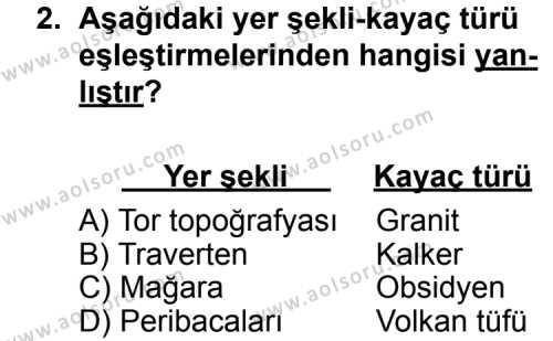 Seçmeli Coğrafya 3 Dersi 2013 - 2014 Yılı 3. Dönem Sınav Soruları 2. Soru