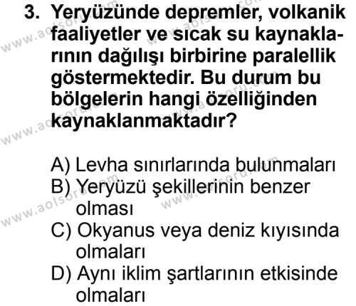 Seçmeli Coğrafya 3 Dersi 2013 - 2014 Yılı 3. Dönem Sınav Soruları 3. Soru