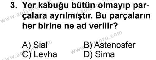 Seçmeli Coğrafya 3 Dersi 2014-2015 Yılı 1. Dönem Sınavı 3. Soru