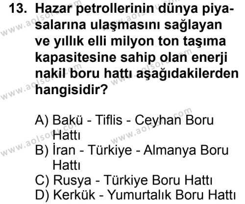 Seçmeli Coğrafya 4 Dersi 2013-2014 Yılı 1. Dönem Sınavı 13. Soru