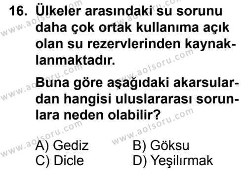 Seçmeli Coğrafya 4 Dersi 2013-2014 Yılı 1. Dönem Sınavı 16. Soru