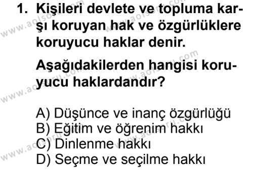 Seçmeli Demokrasi ve İnsan Hakları 1 Dersi 2012 - 2013 Yılı 3. Dönem Sınav Soruları 1. Soru