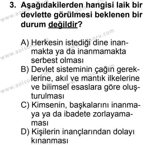 Seçmeli Demokrasi ve İnsan Hakları 1 Dersi 2012 - 2013 Yılı 3. Dönem Sınav Soruları 3. Soru
