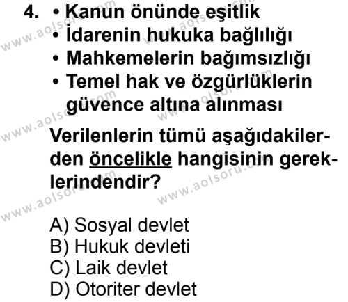 Seçmeli Demokrasi ve İnsan Hakları 1 Dersi 2012 - 2013 Yılı 3. Dönem Sınav Soruları 4. Soru