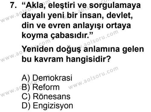 Seçmeli Demokrasi ve İnsan Hakları 1 Dersi 2013-2014 Yılı 1. Dönem Sınavı 7. Soru