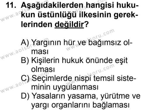 Seçmeli Demokrasi ve İnsan Hakları 1 Dersi 2013-2014 Yılı 1. Dönem Sınavı 11. Soru