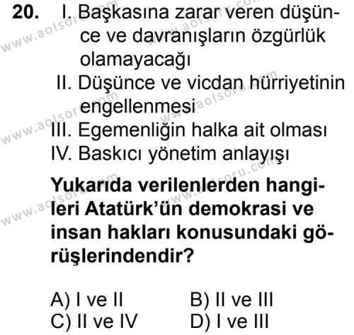 Seçmeli Demokrasi ve İnsan Hakları 2 Dersi 2015-2016 Yılı 1. Dönem Sınavı 20. Soru