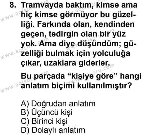 Seçmeli Dil ve Anlatım 3 Dersi 2012-2013 Yılı 1. Dönem Sınavı 8. Soru