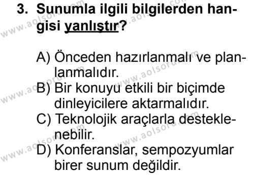 Seçmeli Dil ve Anlatım 3 Dersi 2013 - 2014 Yılı 3. Dönem Sınav Soruları 3. Soru