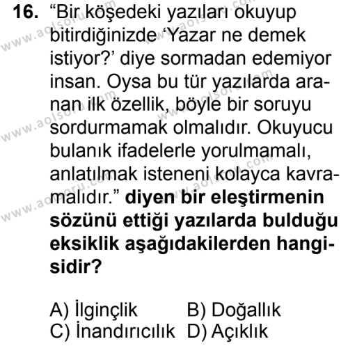 Seçmeli Dil ve Anlatım 3 Dersi 2015-2016 Yılı 1. Dönem Sınavı 16. Soru