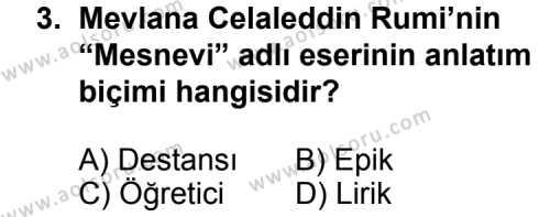 Seçmeli Dil ve Anlatım 4 Dersi 2011 - 2012 Yılı Ek Sınav Soruları 3. Soru