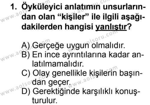 Seçmeli Dil ve Anlatım 4 Dersi 2013 - 2014 Yılı 3. Dönem Sınav Soruları 1. Soru