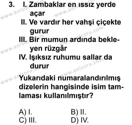 Seçmeli Dil ve Anlatım 4 Dersi 2014-2015 Yılı 1. Dönem Sınavı 3. Soru