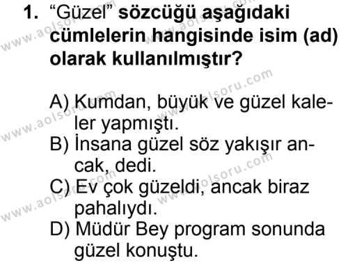 Seçmeli Dil ve Anlatım 4 Dersi 2014 - 2015 Yılı Ek Sınav Soruları 1. Soru