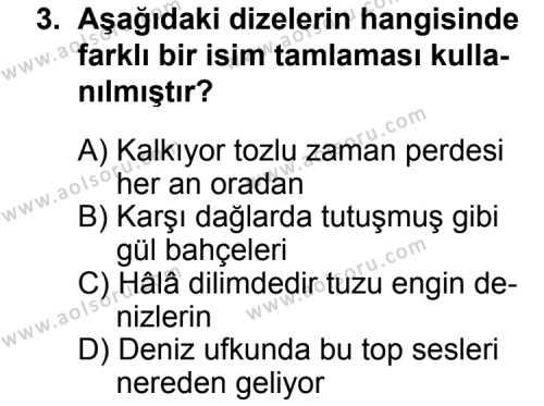 Seçmeli Dil ve Anlatım 4 Dersi 2014 - 2015 Yılı Ek Sınav Soruları 3. Soru