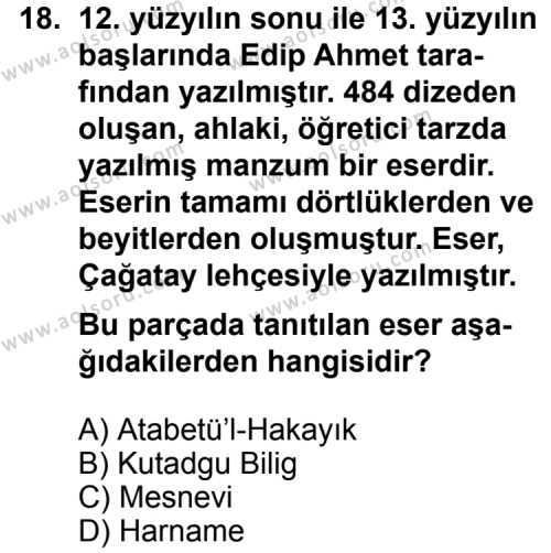 Seçmeli Dil ve Anlatım 5 Dersi 2012-2013 Yılı 1. Dönem Sınavı 18. Soru