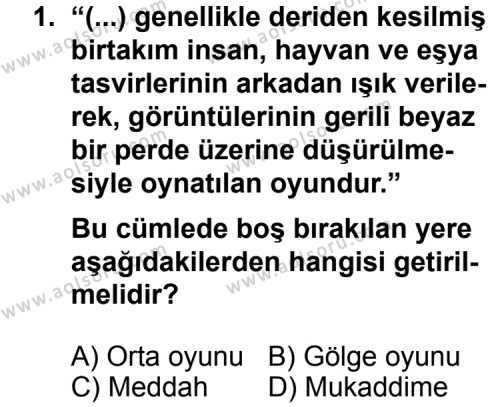 Seçmeli Dil ve Anlatım 5 Dersi 2013 - 2014 Yılı 3. Dönem Sınav Soruları 1. Soru