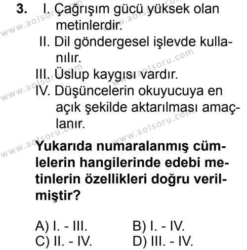Seçmeli Dil ve Anlatım 5 Dersi 2014 - 2015 Yılı Ek Sınav Soruları 3. Soru