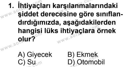 Seçmeli Ekonomi 1 Dersi 2011 - 2012 Yılı Ek Sınav Soruları 1. Soru