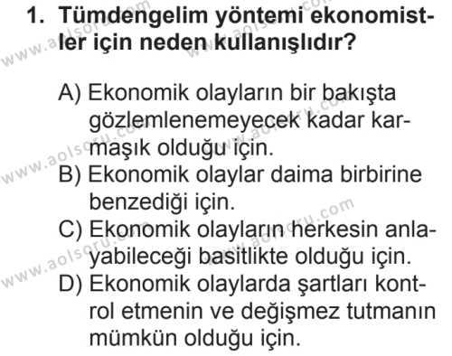 Seçmeli Ekonomi 1 Dersi 2018 - 2019 Yılı 2. Dönem Sınavı 1. Soru