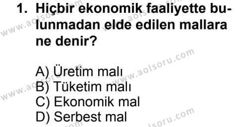 Seçmeli Ekonomi 2 Dersi 2012 - 2013 Yılı 1. Dönem Sınav Soruları 1. Soru
