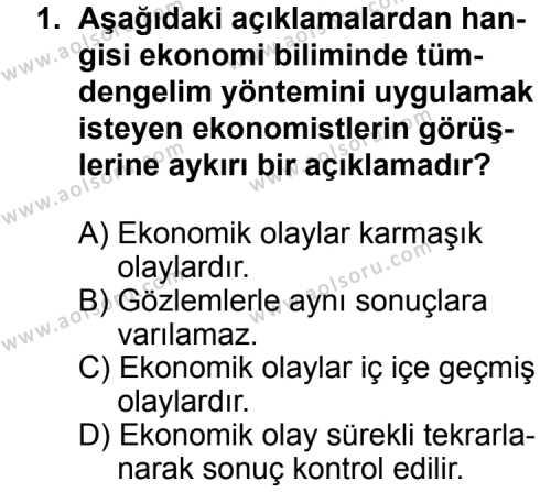 Seçmeli Ekonomi 2 Dersi 2013 - 2014 Yılı 1. Dönem Sınav Soruları 1. Soru