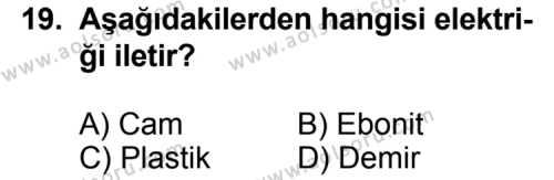Seçmeli Fizik 1 Dersi 2011-2012 Yılı 1. Dönem Sınavı 19. Soru