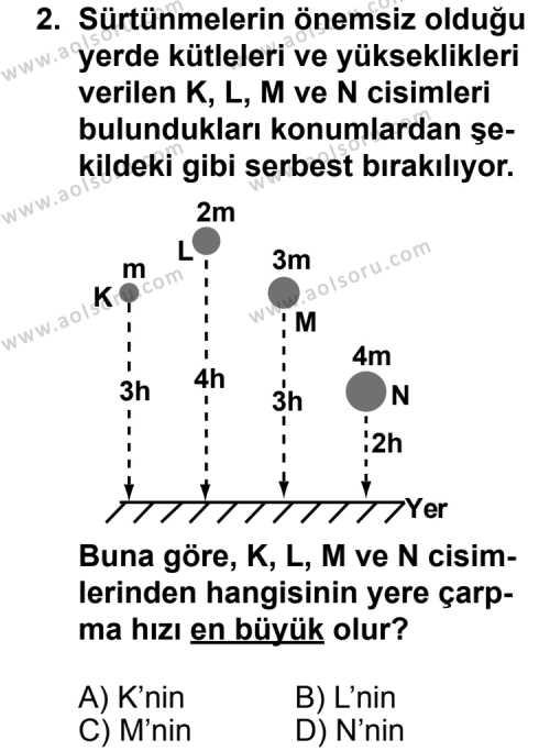 Seçmeli Fizik 1 Dersi 2011 - 2012 Yılı 2. Dönem Sınav Soruları 2. Soru