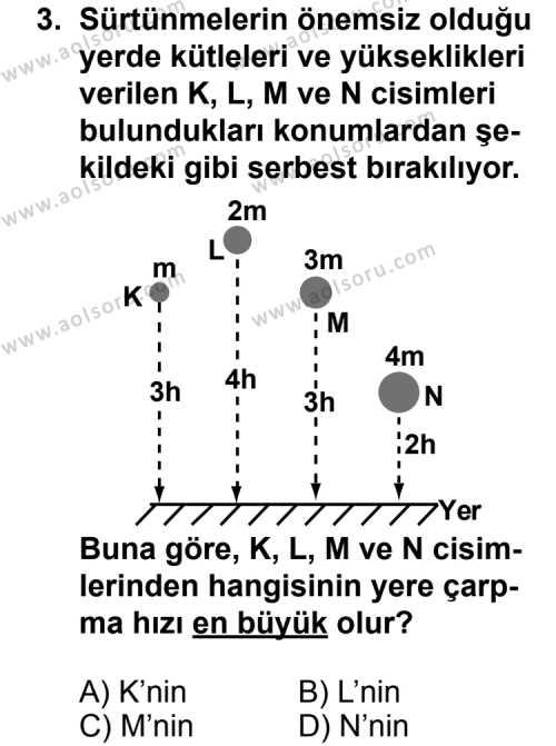 Seçmeli Fizik 1 Dersi 2011 - 2012 Yılı Ek Sınav Soruları 3. Soru