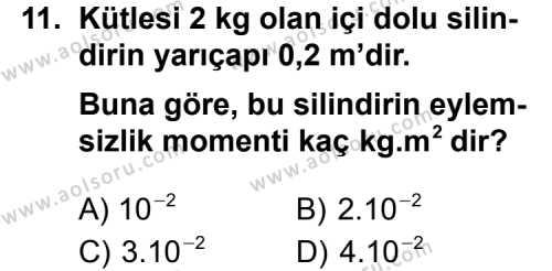 Seçmeli Fizik 1 Dersi 2013-2014 Yılı 1. Dönem Sınavı 11. Soru
