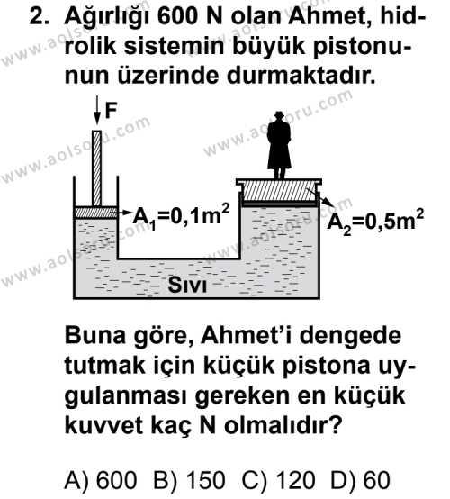 Seçmeli Fizik 1 Dersi 2013 - 2014 Yılı 2. Dönem Sınav Soruları 2. Soru