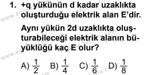 Seçmeli Fizik 2 Dersi 2011-2012 Yılı 1. Dönem Sınavı 1. Soru