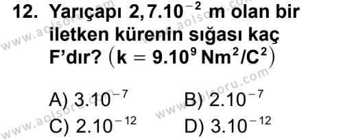 Seçmeli Fizik 2 Dersi 2011-2012 Yılı 1. Dönem Sınavı 12. Soru