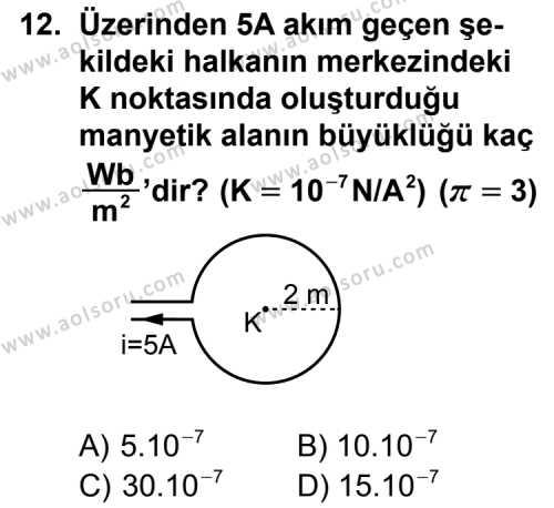 Seçmeli Fizik 2 Dersi 2015-2016 Yılı 1. Dönem Sınavı 12. Soru