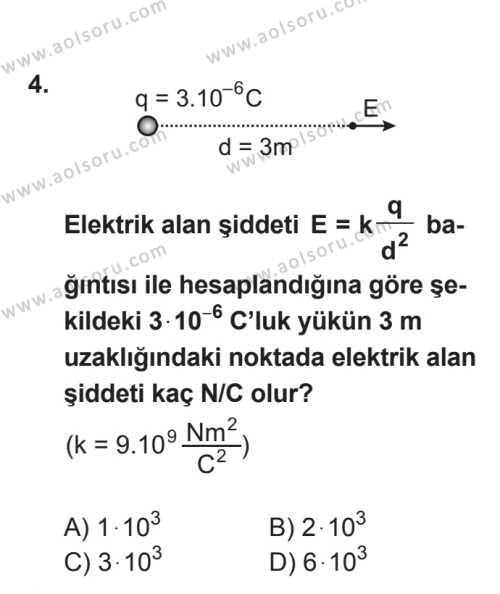 Seçmeli Fizik 2 Dersi 2017 - 2018 Yılı 3. Dönem Sınavı 4. Soru